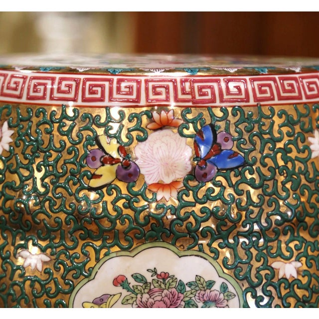 Mid-Century Chinese Porcelain Garden Stool With Bird and Floral Decor For Sale - Image 9 of 13