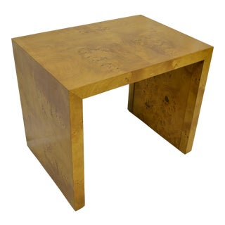 1960s Mid Century Modern Olive Burlwood Side Table For Sale
