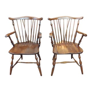 1970s Vintage Pennsylvania House Cherry Farm Country Style Arm Chairs- A Pair For Sale