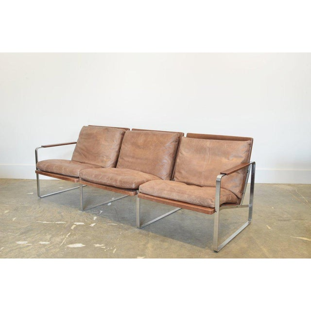 Fabricius & Kastholm Three-Seater Sofa in Original Brown Leather and Steel For Sale In Phoenix - Image 6 of 6