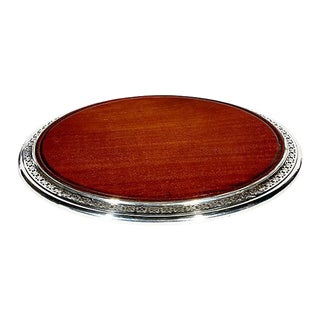 1950s Sterling Silver & Mahogany Server For Sale