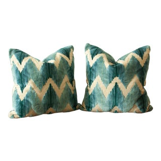 Blue Flame Stitched Pillows - a Pair