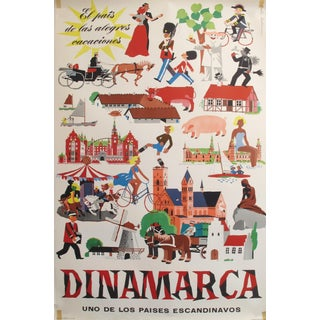 1953 Original Danish Travel Poster, Dinamarca (Denmark) For Sale