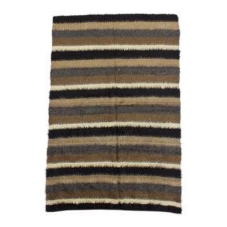 1960s Vintage Turkish Striped Blanket Kilim Rug - 4′5″ × 6′7″ For Sale