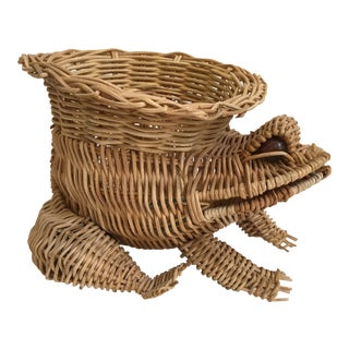 Mid Century Marble Eyed Wicker Frog Planter For Sale