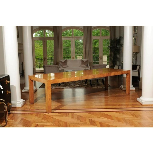 Contemporary Outstanding Extension Dining or Conference Table in Bookmatched Olivewood For Sale - Image 3 of 10