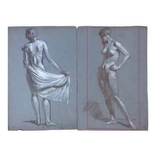 1920s American Modernist Nude Drawings by Kenneth Hartwell - a Pair For Sale