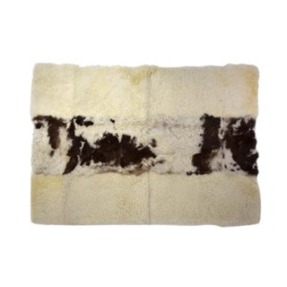 "Wool Sheepskin Rug Eco Friendly Yoga Mat Off-White Dark Brown 2'6""x3'5"" For Sale"