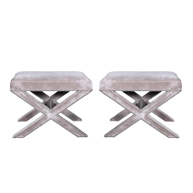 Metal Velvet Stools- A Pair For Sale - Image 7 of 7