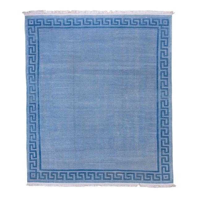 1960s Vintage Indian Dhurrie Blue Rug For Sale