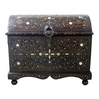 1960s Moroccan Bone Inlay Trunk For Sale