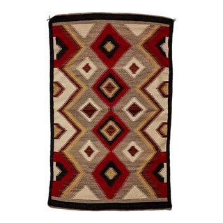 Vintage Navajo Eye Dazzler Rug W/ Ganado Red Dye Circa 1960
