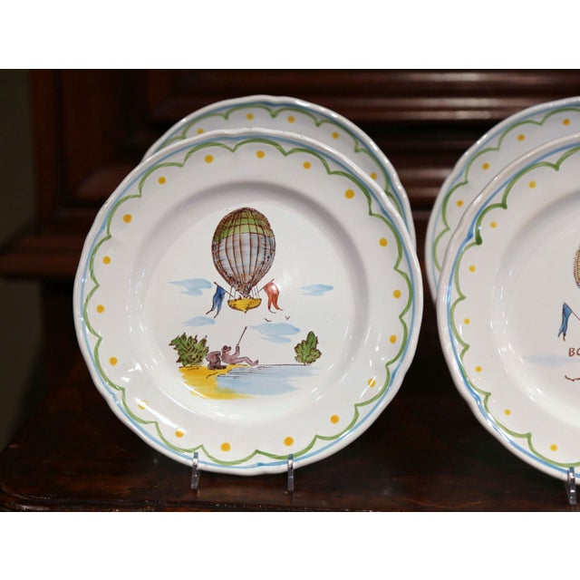 Set of Six French Hand-Painted Ceramic Hot Air Balloon Plates From Brittany For Sale In Dallas - Image 6 of 13