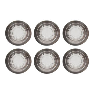 Six Art Deco Sterling Silver Overlaid Hors D'Oeuvres Plates by Dorothy Thorpe