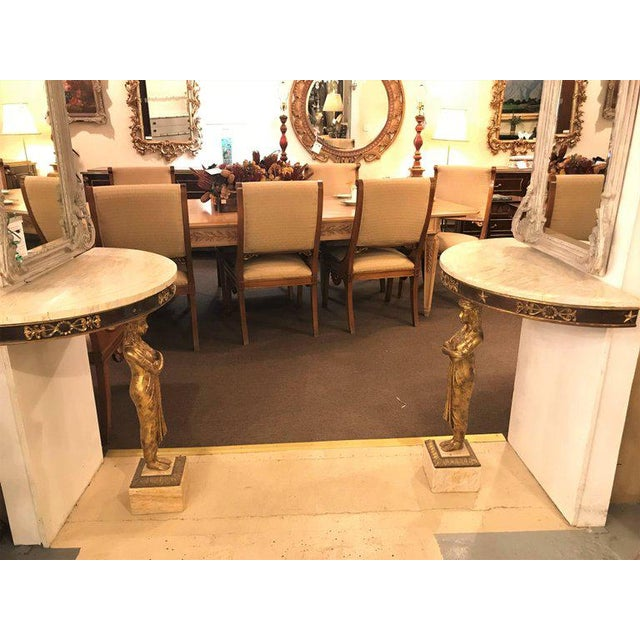 Late 19th Century Empire Style Demilune Console Tables - a Pair For Sale - Image 9 of 11