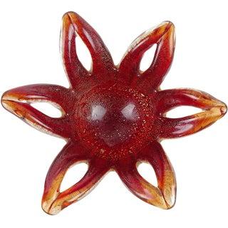 Barovier Toso Murano Red Gold Flecks Italian Art Glass Flower Star Flared Bowl For Sale