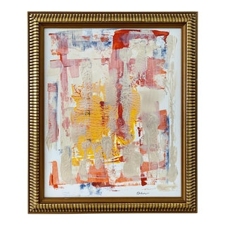"""Peaceful"" Contemporary Abstract Acrylic Framed Painting For Sale"