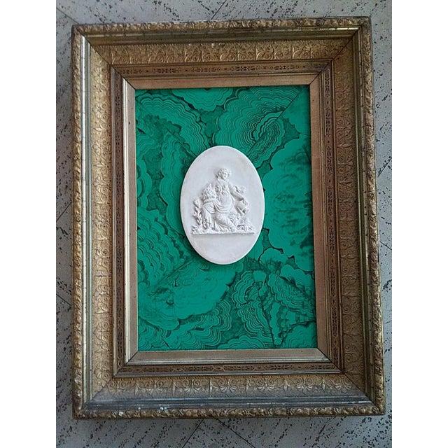 1980s Classic Intaglio Faux Malachite Art For Sale - Image 5 of 5