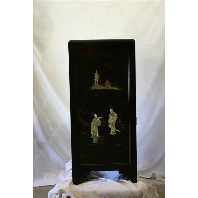 Antique Chinese Black Lacquer Pictorial China Cabinet - Image 9 of 10