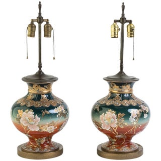 Pair of 1920s Satsuma Table Lamps For Sale