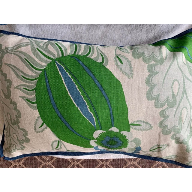 """These gorgeous pillows in Christopher Farrs"""" Carnival """" are sure to jazz up any summer decor. Edged and backed in blue..."""
