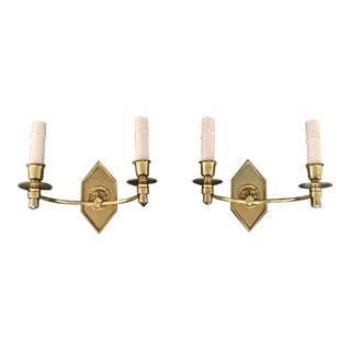 French Empire Style Brass Lion Wall Sconces - a Pair For Sale