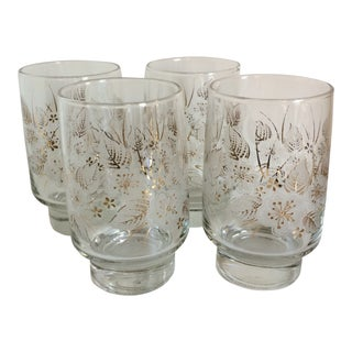 Vintage Libbey Gold and White Floral Glasses - Set of 4