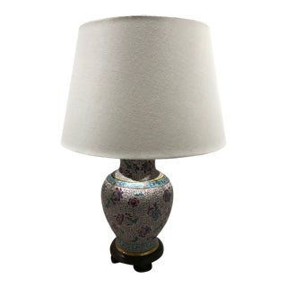 Pink and Blue Vintage Asian Table Lamp with Shade For Sale
