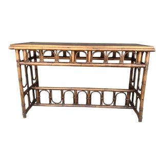 Vintage Rattan Console Table For Sale