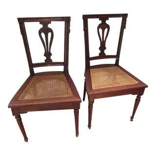 20th Century Louis XVI Cane Bottom Side Chairs - a Pair
