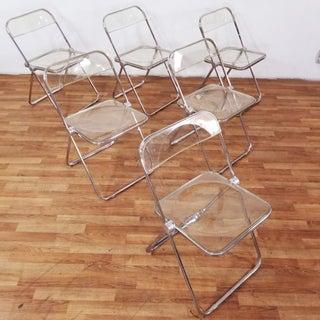 1960s Vintage Giancarlo Piretti Castelli Plia Smoked Anonima Lucite Chairs- Set of 6 Preview
