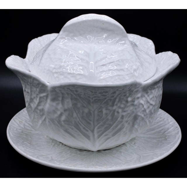 Mid-20th Century White Cabbage Pottery Tureen and Plate Set For Sale - Image 13 of 13