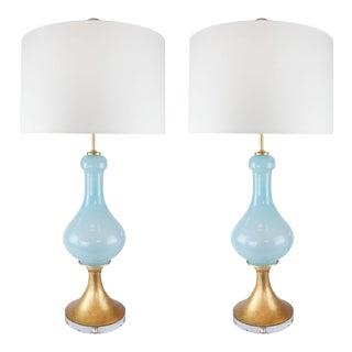 Vintage 1970s Murano Light Blue Opaline Glass Lamps - a Pair