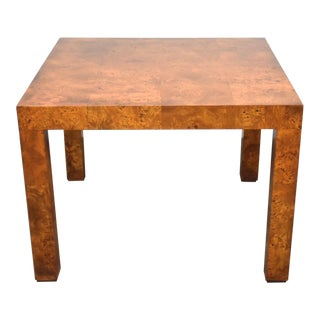Milo Baughman Style Square Burl Dining Table Mid Century Modern For Sale