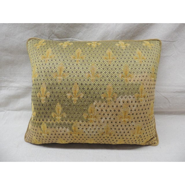 Late 19th Century 19th Century Fleur De Lis Embroidery Tapestry Decorative Pillow For Sale - Image 5 of 5