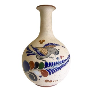Vintage Mid Century Mexican Stoneware Pottery Tonala Hand Painted Ceramic Bird Vase For Sale