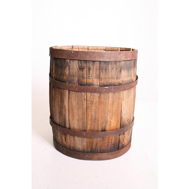 Vintage Rustic Banded Weathered Wood Nail Keg - Image 8 of 11