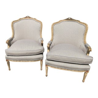 French Blue and White Chairs - a Pair For Sale