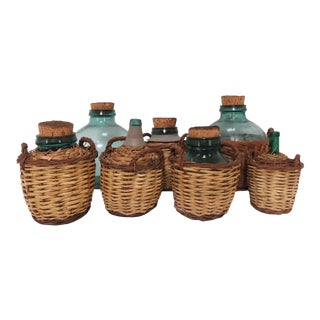 Antique French Demijohn Carboy Bottles, Circa 1930s-1940s - Set of 7 For Sale
