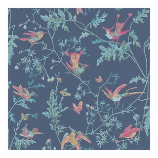 Hummingbirds Indigo Cole & Sons Wallpaper For Sale