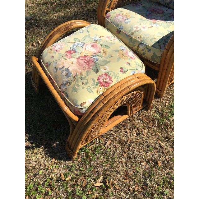 Traditional Vintage Palecek Bamboo Recliner Chair & Ottoman - A Pair For Sale - Image 3 of 7