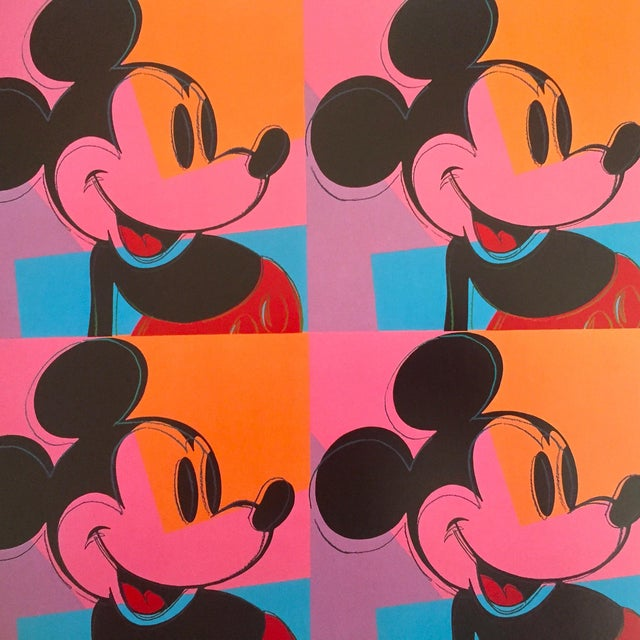 "Andy Warhol Andy Warhol Foundation Rare 1995 Lithograph Print Pop Art Poster "" Mickey Mouse "" 1981 For Sale - Image 4 of 6"