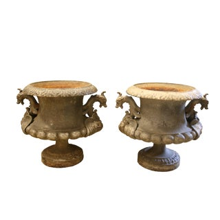19th Century Cast Iron French Urns With Dragon Handles - A Pair For Sale