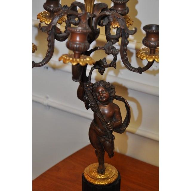 19th Century Bronze Putti Candelabra For Sale - Image 5 of 7