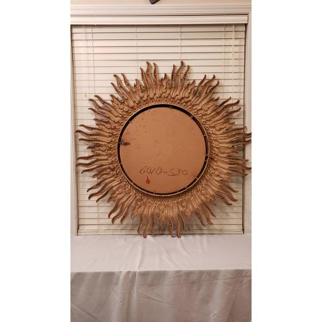 1990s Large Decorative Sunburst Mirror With Cast Plastic Frame For Sale - Image 5 of 6