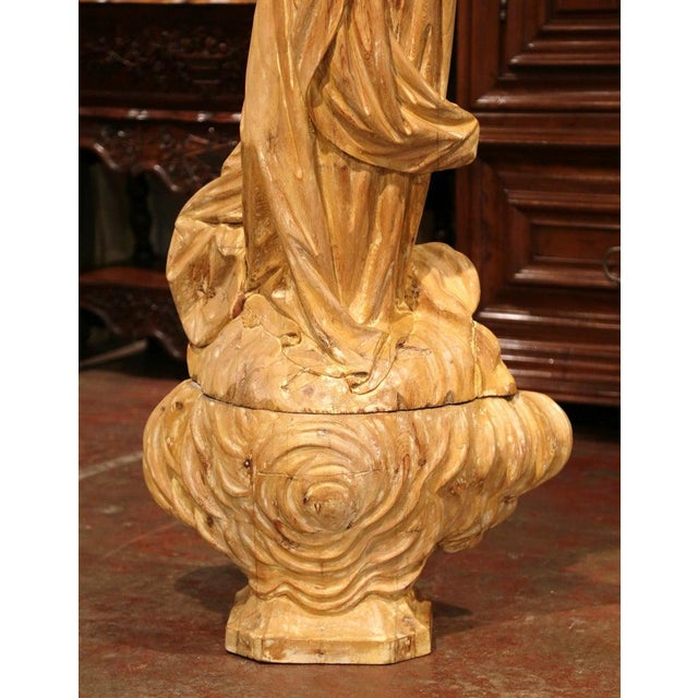 Early 19th Century French Carved Pine Religious Figure on Carved Cloud Form Base For Sale - Image 10 of 13