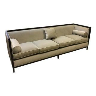 Modern Baker Furniture Leather & Velvet Sofa For Sale