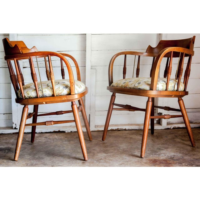1950s Vintage Drexel Barrel Dining Office Accent Arm Chairs- Pair For Sale - Image 12 of 13