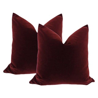 "20"" Oxblood Velvet Pillows - A Pair"