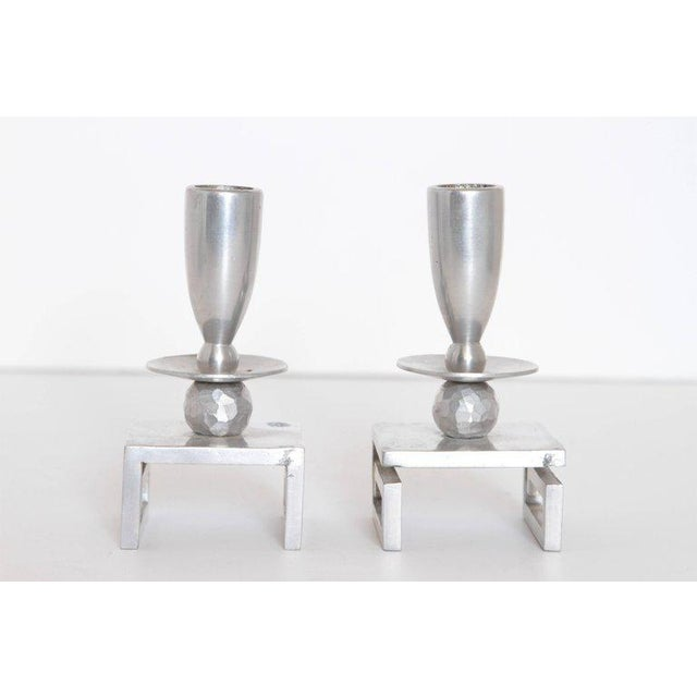 Aluminum Pair of Machine Age Hand-Wrought Aluminum Palmer Smith Candlestick Holders For Sale - Image 7 of 11
